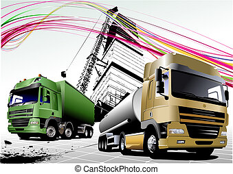 Two  trucks on the road. Colored Vector illustration