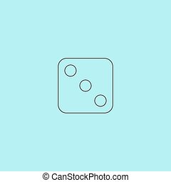 One dices - side with 3 Simple outline flat vector icon...