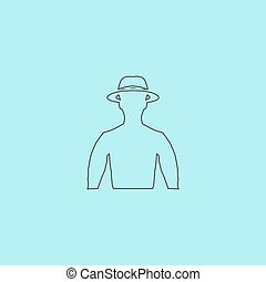 man with broad-brim - Man with broad-brim. Simple outline...