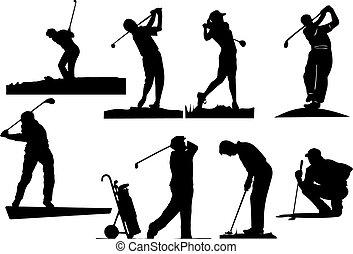 oito, golfer, silhuetas