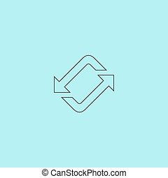 Spinning, rotating arrows Simple outline flat vector icon...