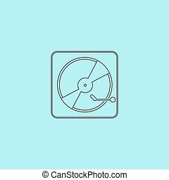 Vinyl record player. Simple outline flat vector icon...