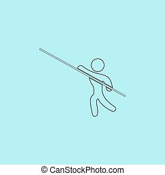 Pole vault athlete. Simple outline flat vector icon isolated...