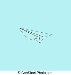 Paper Plane sign - Paper Plane Simple outline flat vector...
