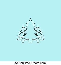 Tree, Christmas fir tree Simple outline flat vector icon...