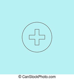 Medical cross Simple outline flat vector icon isolated on...