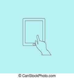 Touch screen tablet Simple outline flat vector icon isolated...