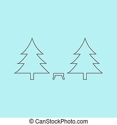 Camping among the trees Simple outline flat vector icon...