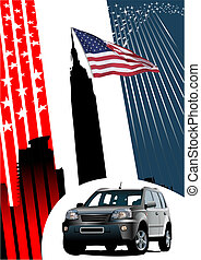Background with American images and car. Vector illustration