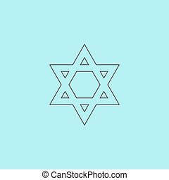 Star of David Simple outline flat vector icon isolated on...