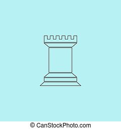 Chess Rook icon - Chess Rook. Simple outline flat vector...