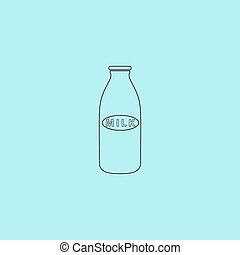 milk bottle icon - Milk bottle Simple outline flat vector...