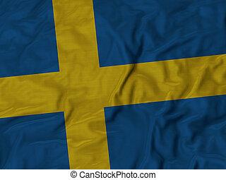 Ruffled flag of Sweden - Closeup of ruffled Sweden flag,...