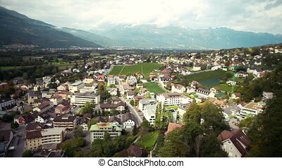 Panoramic view of the city in mountains Vaduz, Liechtenstein...