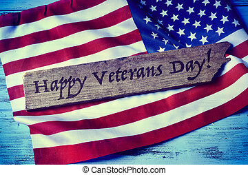text happy veterans day and the flag of the US