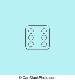 One dices - side with 6 Simple outline flat vector icon...