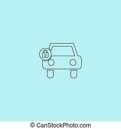 car lock icon - Car lock Simple outline flat vector icon...