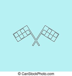 Racing flag. Simple outline flat vector icon isolated on...