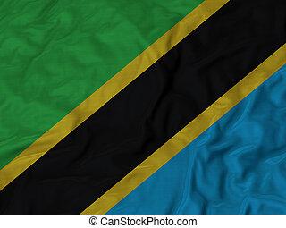 Ruffled flag of Tanzania - Closeup of ruffled Tanzania flag,...