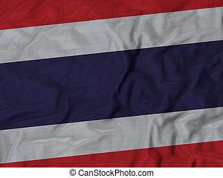 Ruffled flag of Thailand - Closeup of ruffled Thailand flag,...