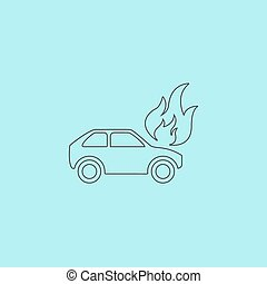 Car fire icon - Car fire Simple outline flat vector icon...