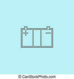 Car battery icon - Car battery Simple outline flat vector...