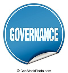 governance round blue sticker isolated on white