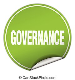 governance round green sticker isolated on white