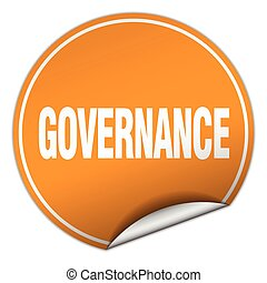 governance round orange sticker isolated on white