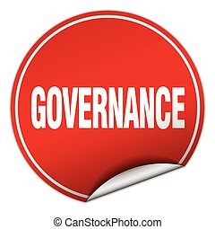 governance round red sticker isolated on white