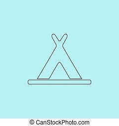 wigwam icon - Wigwam Simple outline flat vector icon...