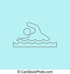 Swimming sign - Swimming Simple outline flat vector icon...