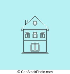 house icon - Simple old house Simple outline flat vector...