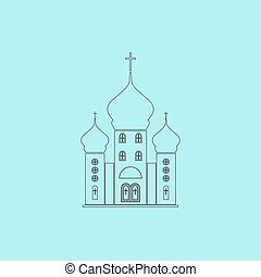 Vector church icon - Church Simple outline flat vector icon...
