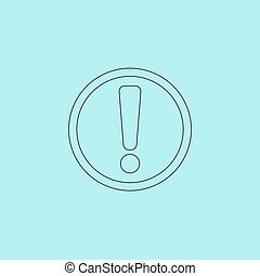 Exclamation mark Simple outline flat vector icon isolated on...