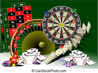 Roulette table and casino elements. Vector illustration