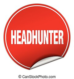 headhunter round red sticker isolated on white