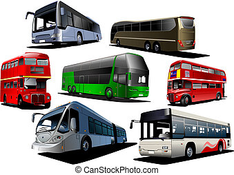 City double bus Vector illustration