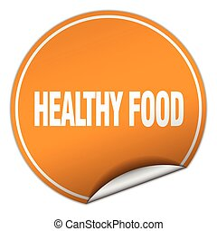 healthy food round orange sticker isolated on white