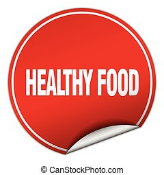 healthy food round red sticker isolated on white