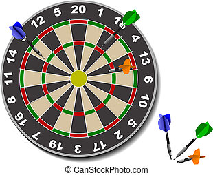 Darts. Office game. Vector illustration
