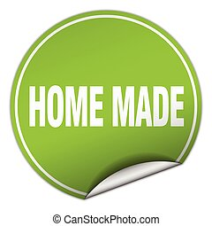 home made round green sticker isolated on white