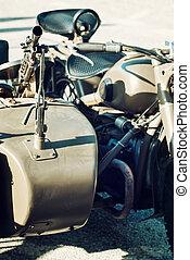 Machine gun mounted on the veteran sidecar, retro scene -...