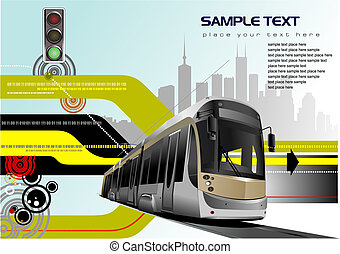 Abstract hi-tech background with tram image