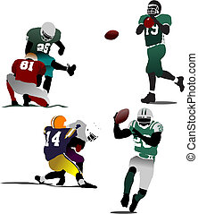 American football players silhouettes in action - American...