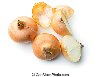 halved fresh onion on white background