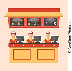 Workers with Cash Register in Cafe - Illustration Workers...
