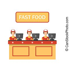 Cashiers with Cash Register in Diner with Fast Food