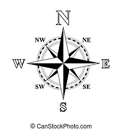 Compass Rose - Black and white compass rose vector...