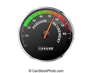Pension Speedometer - Speedometer showing pension and...